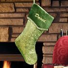 Embroidered Glitter Swirls Green Christmas Stocking