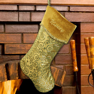 Embroidered Gold Christmas Stocking