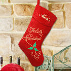 Embroidered Feliz Navidad Velvet Christmas Stocking