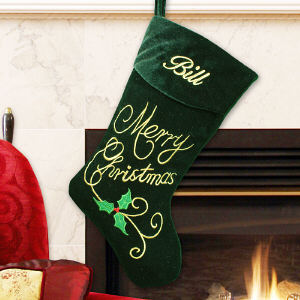 Embroidered Merry Christmas Velvet Stocking | Personalized Christmas Stockings
