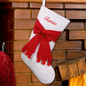 Embroidered Ivory and Red Bow Christmas Stocking