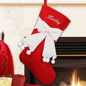 Embroidered Red and Ivory Bow Christmas Stocking