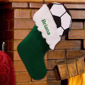 Embroidered Sports Christmas Stocking - Soccer Ball Design