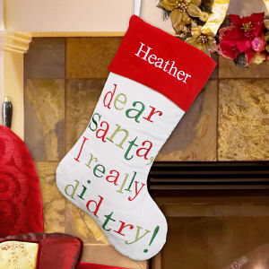 Embroidered Dear Santa Christmas Stocking