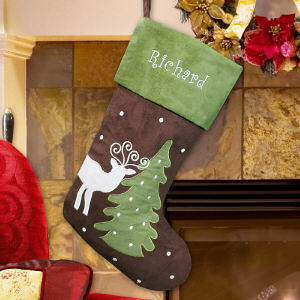Embroidered Suede Reindeer Stocking | Personalized Christmas Stockings