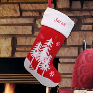 Personalized Winter Trees Stocking