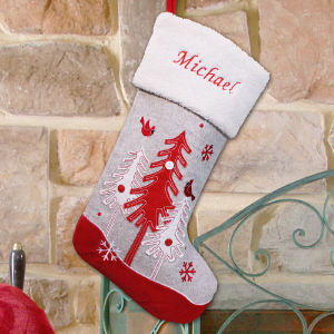 Embroidered Gray Christmas Tree Stocking