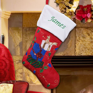 Embroidered Presents Red Plush Stocking | Christmas Stockings