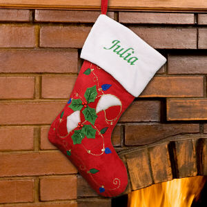 Embroidered Candy Cane Red Plush Stocking | Personalized Stocking