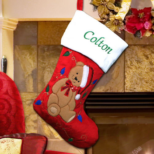 Embroidered Teddy Bear Red Plush Stocking | Custom Stockings