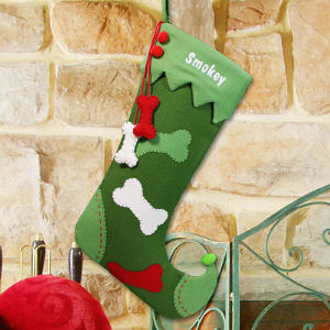 Embroidered Pet Chrismtas Stocking - Dog Bone Design S57089