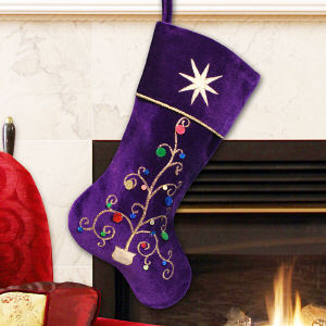 Purple Velvet Christmas Stocking