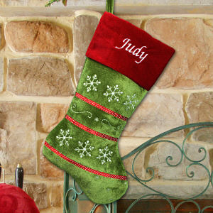 Embroidered Snowflake Red and Green Stocking