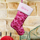 Embroidered Pink Camo Christmas Stocking
