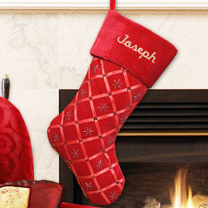 Embroidered Red Ribbon Stocking | Personalized Christmas Stockings