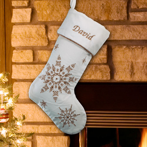Embroidered Snowflakes Velvet Christmas Stocking | Embroidered Christmas Stockings