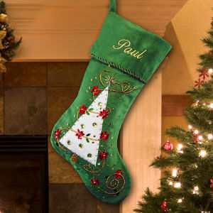 Embroidered Green Christmas Tree Stocking | Embroidered Christmas Stockings