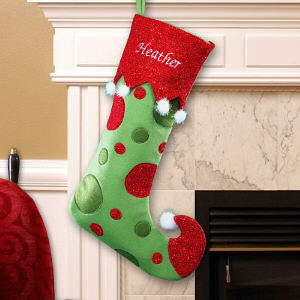 Embroidered Polka Dot Christmas Stocking | Personalized Christmas Stockings
