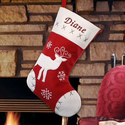Classic Reindeer Red Velvet Christmas Stocking | Personalized Christmas Stockings