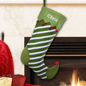 Embroidered Green Jester Christmas Stocking