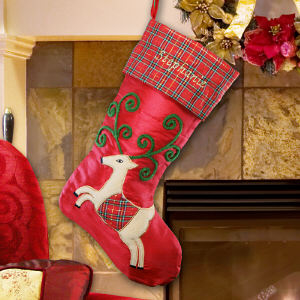 Personalized Satin and Plaid Reindeer Stocking