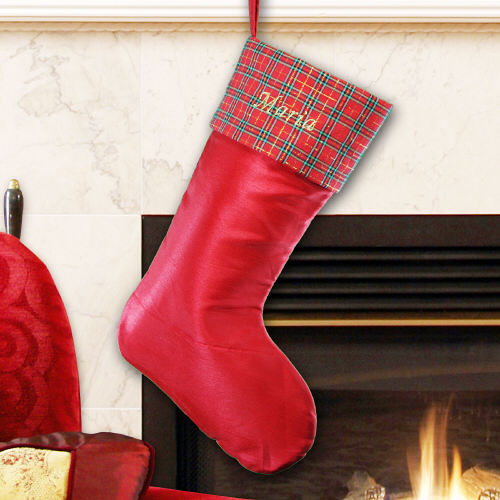 Embroidered Red Satin with Plaid Trim Stocking | Personalized Christmas Stockings