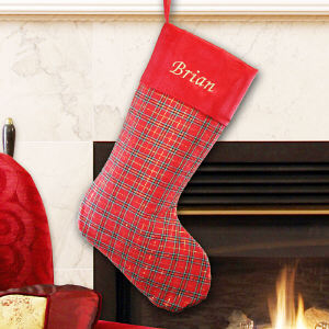 Personalized Plaid with Red Satin Trim Stocking