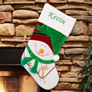 Embroidered Green Velvet Snowman Christmas Stocking