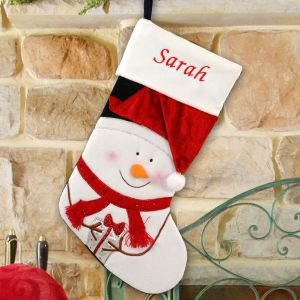 Embroidered Snowman Stocking