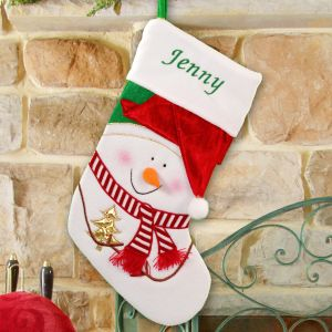 Embroidered Red Hat Snowman Christmas Stocking | Personalized Christmas Stockings