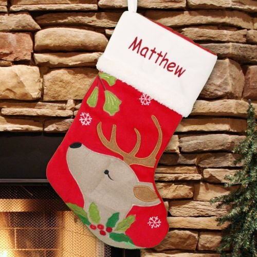 Embroidered Deer Christmas Stocking | Christmas Stockings