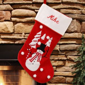 Embroidered Snowman Stocking | Embroidered Stocking