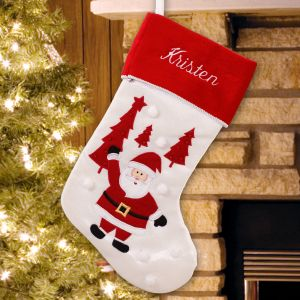 Embroidered Santa Stocking