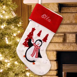 Embroidered Penguin Christmas Stocking | Personalized Stocking