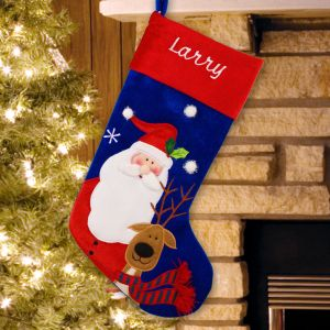 Embroidered Classic Santa and Deer Stocking | Personalized Stocking