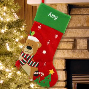 Embroidered Teddy Bear Christmas Stockings | Embroidered Christmas Stockings