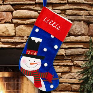 Embroidered Classic Snowman Christmas Stocking | Christmas Stockings
