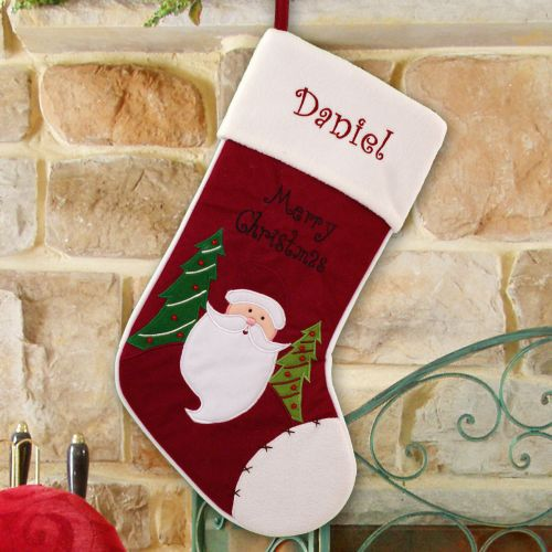 Embroidered Merry Christmas Santa Stocking | Embroidered Stockings