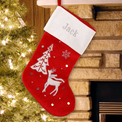 Embroidered Reindeer Velvet Stocking | Personalized Stockings
