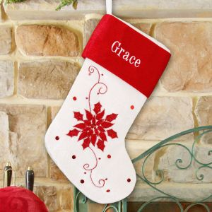 Embroidered Poinsettia Stocking | Customized Christmas Stockings