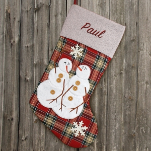 Embroidered Snowman Plaid Stocking S96549