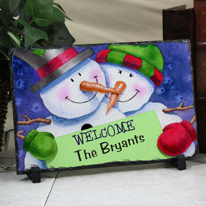 Personalized Snowman Welcome Stone