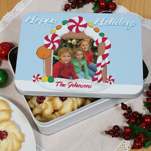 Personalized Gingerbread House Photo Cookie Tin | Personalized Christmas Cookie Tins