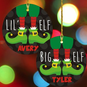 Personalized Elf Ceramic Ornament