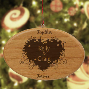Engraved Together Forever Couples Wooden Oval Ornament