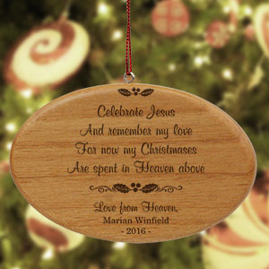 Engraved Wooden Memorial Ornament