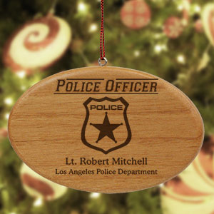 Engraved Police Officer Wooden Oval Ornament | Personalized Police Ornaments