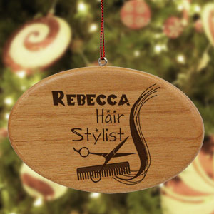 Engraved Hair Stylist Wooden Oval Ornament W29292