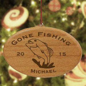 Engraved Fishing Wooden Oval Ornament W30262