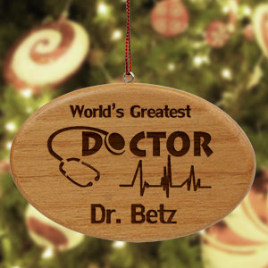 Engraved Doctor Wooden Oval Ornament | Personalized Doctor Ornament